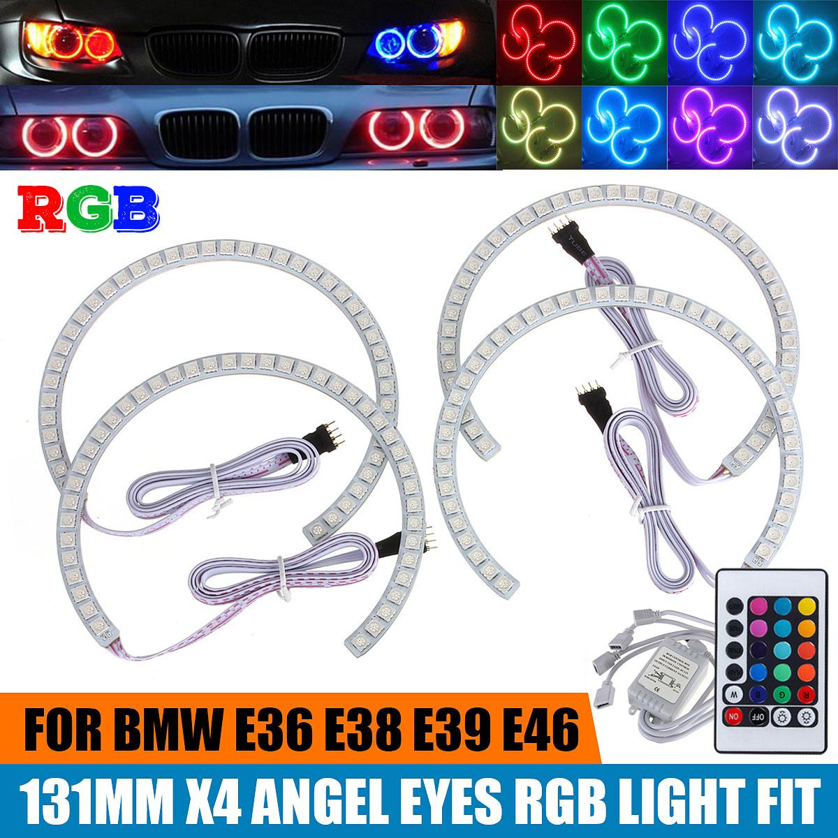 4PCS Latest Multi-Color 168 RGB 5050 SMD LED Angel Eyes Halo Ring For BMW E36 E38 E39 E46 M3 16 Colors Available To Change