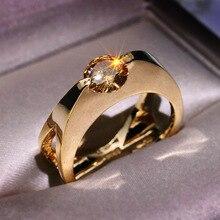 RongXing único champán redondo zirconio Rosa oro Color anillos para mujeres boda joyería femenina geométrico compromiso promesa anillo