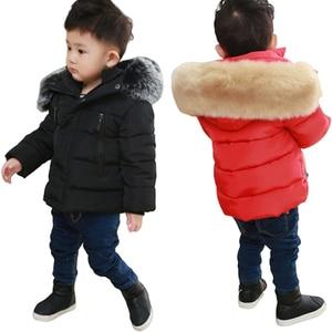 Image 1 - 春キッズボーイズ & ガールズダウンコート冬ジャケット暖かい子供厚みプラス入りのジャケットフード付き上着衣装