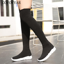 COVOYYAR-Calcetines largos para mujer hasta la rodilla, botas por encima de la rodilla, zapatos de cuña de tela elástica para otoño e invierno, 2021