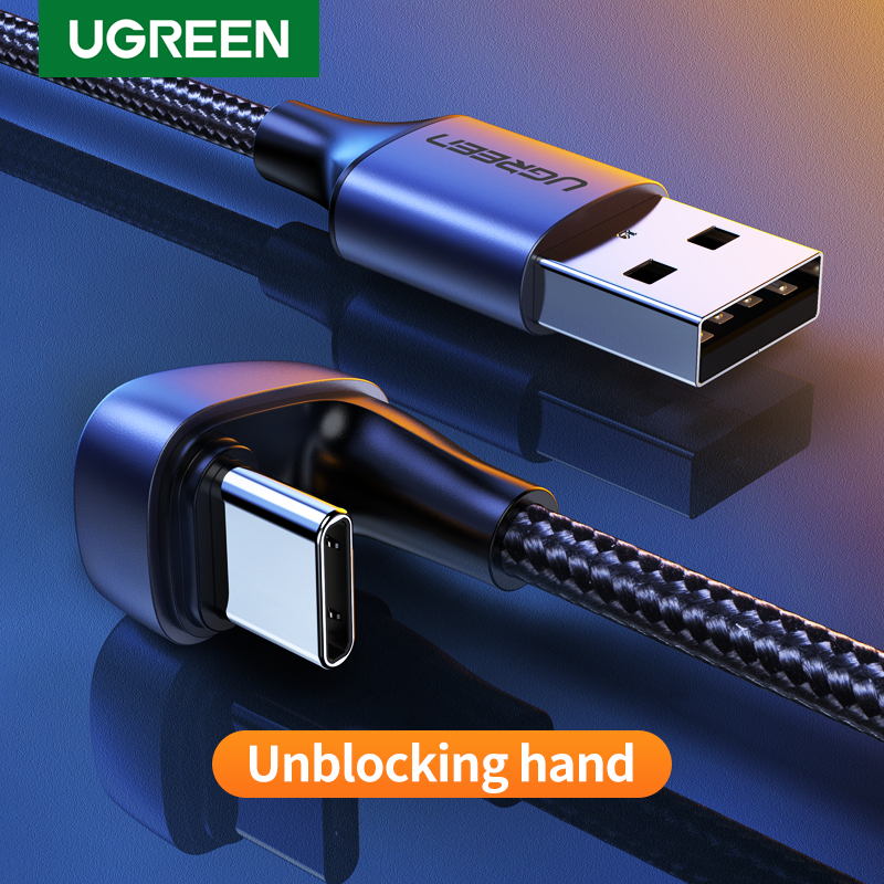 Ugreen 3A USB Type C Cable For Samsung S10 S9 Plus 180°Angle Fast Charging USB C Cable For Nintendo Switch Mobile Phone USB Cord