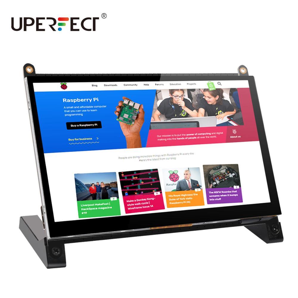 UPERFECT Портативный монитор Raspberry Pi сенсорный экран диагональю 7 дюймов 1024X600 с двумя динамиками Портативный емкостный IPS дисплей с HDMI
