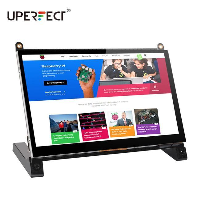 UPERFECT Protable Monitor Raspberry Pi dello schermo di tocco di 7 pollici 1024X600 con due altoparlanti portatile capacitivo IPS display con HDMI