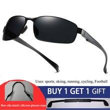 BOOROOT Aluminum Sunglasses Men Outdoor Sports Driving Polarized Sun Glasses UV400 Anti-UV Male Rectangle With Anti-skid Belt