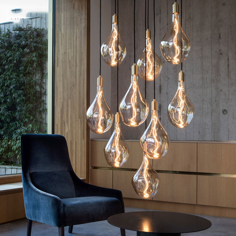 Modern Copper Glass LED Pendant Lights  Nordic Pendant Lamp Dining Living Room Bedroom Home Decor Hanging Lighting Fixture