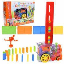 Toy Blocks Domino-Brick Game Sound-Light Gift Educational DIY Colorful Kids Automatic