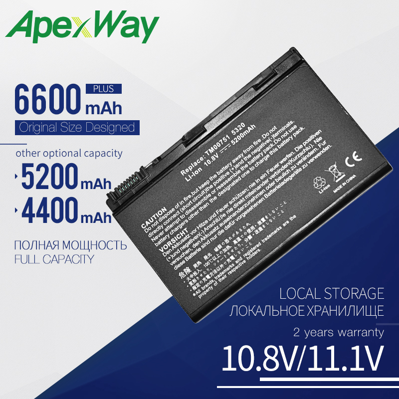 Apexway Laptop <font><b>Battery</b></font> TM00741 For <font><b>Acer</b></font> <font><b>5210</b></font> 5220 5230 5235 5320 5420 5610 5620 5620Z 5630 7220 7620 TM00751 GRAPE32 image