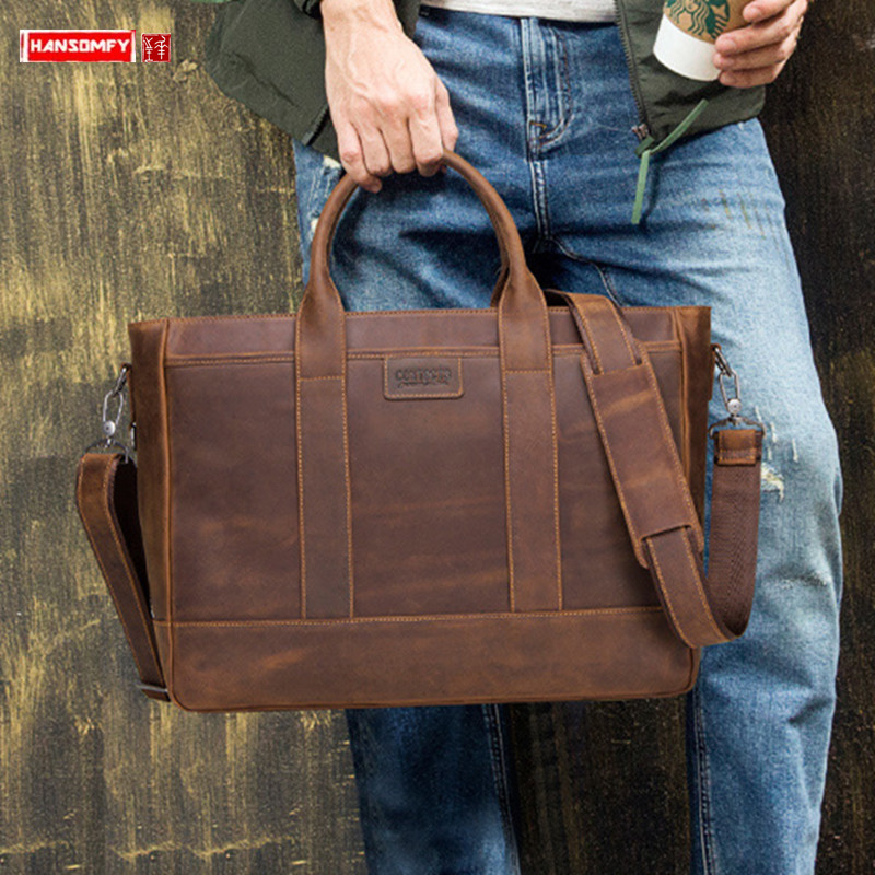 New Genuine Leather Men's Business Briefcase Male Handbag Crazy Horse Leather 15.6-inch Computer Bag Men Shoulder Crossbody Bags