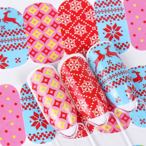 Image 4 - 12 adhesivos para pc en las uñas muñeco de nieve Elk adhesivo navideño de papel de aluminio calcomanías deslizantes para invierno decoración artística de uñas manicura set LABN/A 1