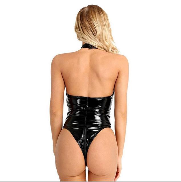Latex Halter Babydoll Bodysuit 3