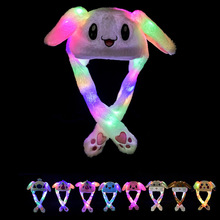 Hat woman warm plush bunny ears will move hat fashion cartoon embroidery light cap cute long ear Parent-child