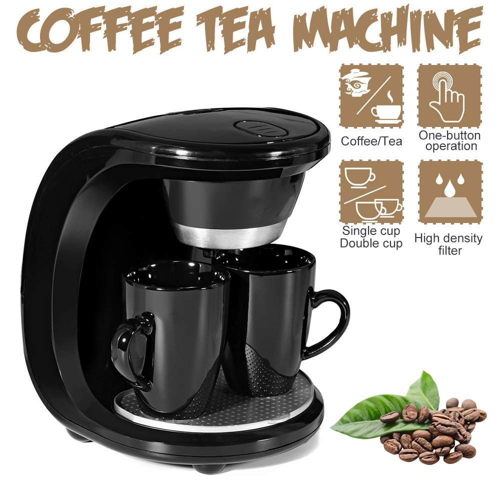 450W Auto Dual Cup Coffee Machine Electric Drip Coffee Maker Household Dual-use American Coffee Tea Machine 110V/220V