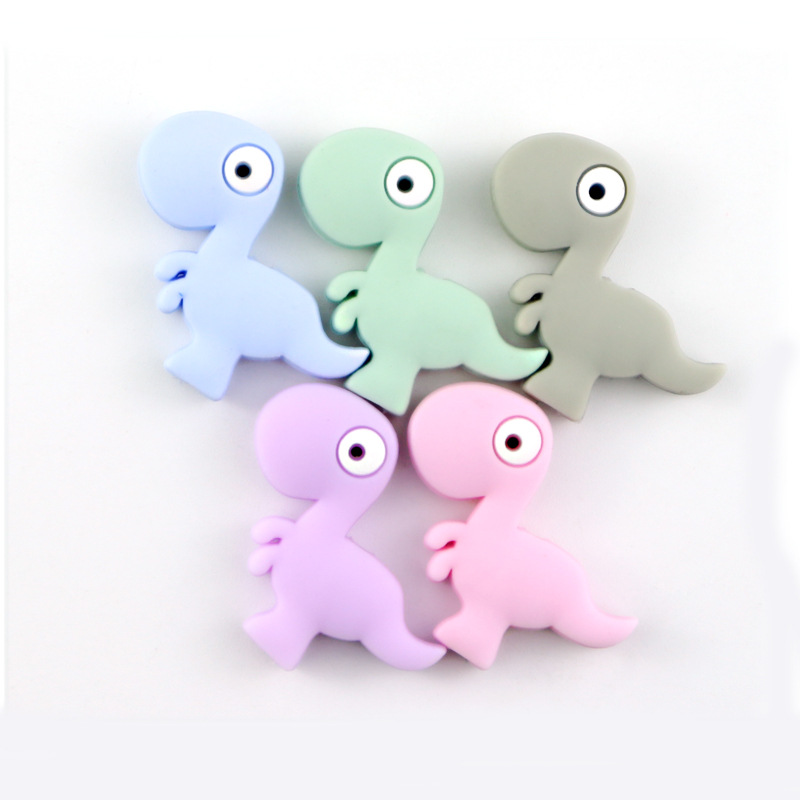 ATOB 50PCS Silicone  Teether  Beads Dinosaur Baby Rodent Teething Bead DIY Nursing Necklace Bracelet Pacifier Chain Kids Product