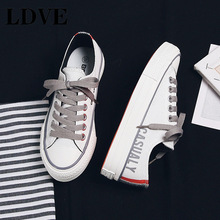 Women Casual Shoes Noctilucent Low Top Basic Simple Style Lace Up Good Quality Famous Brand White Sneaker Girl Canvas Shoe 35-40