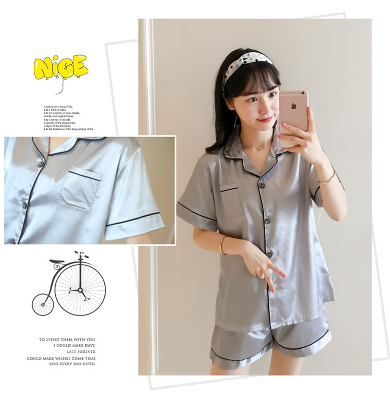 H7af9a9608cce43c688edd08de761c8c8f - JULY'S SONG New Spring Summer Women Faux Silk Pajamas Set Simple Pure Color Leisure Nightwear Short Sleeves Sleepwear
