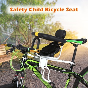Kids Saddle with Foot Pedals Support Back Rest Safety Child Bicycle Seat Bike Front Baby Seat for MTB Road Bike