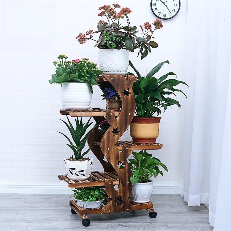 Pot Table Garden Shelves For Stojaki Na Kwiaty Escalera Decorativa Madera Dekoration Balcony Shelf Plant Rack Flower Stand