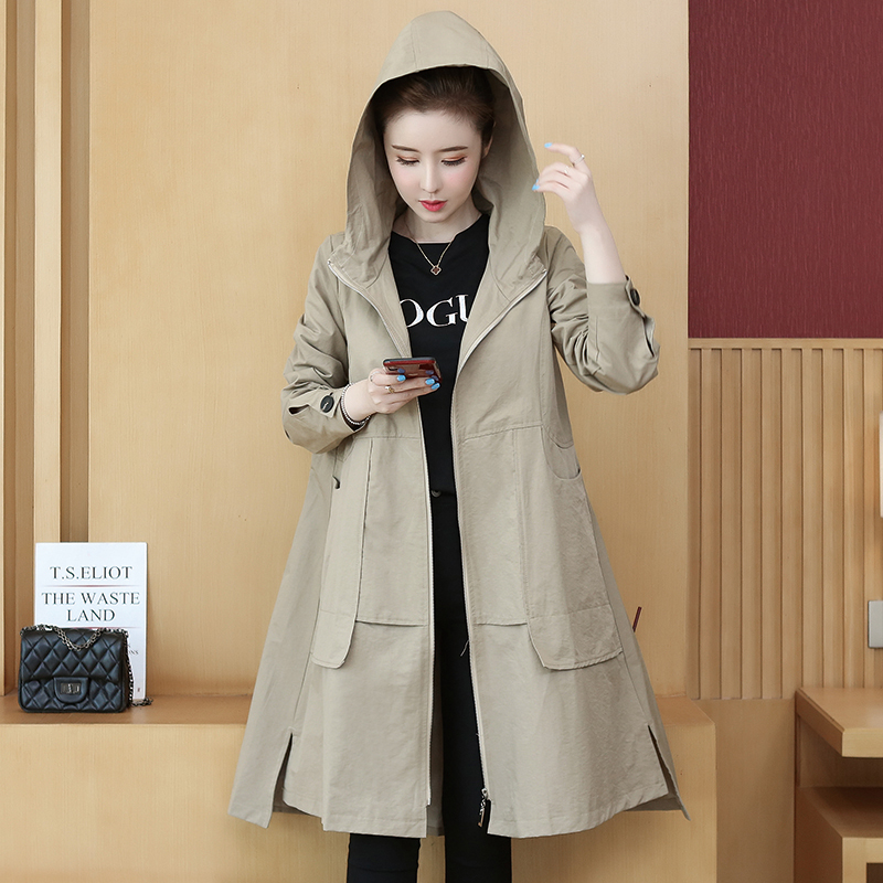 2019 New Style Women Fashion Casual Zipper   Trench   Coat Classical Hooded Collar Loose Long Windbreaker Russia style Chic Outwear