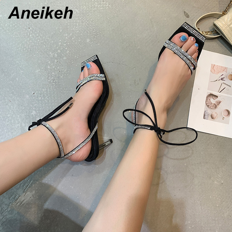Aneikeh Fashion Bling CRYSTAL High Heels Sandals Women Square Head Cross-tied Lace-Up Gladiator Sandals Summer Party Shoe 41 42