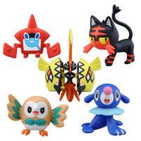 Takara Tomy-figuras de acción de Pokémon, Charmander, Popplio, Litten, Pikachu, Rowlet, Treecko, Eevee, Fennekin, Anime