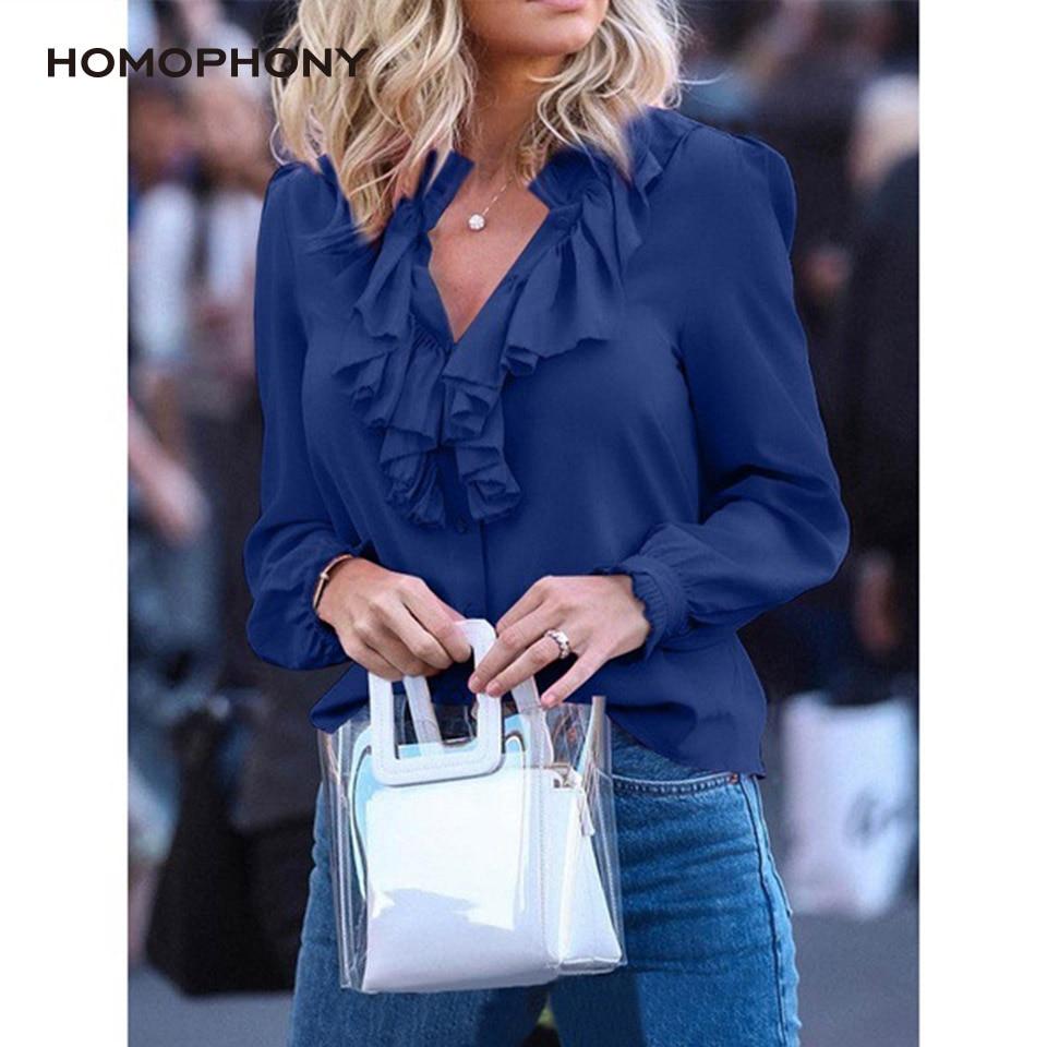 Женская блузка с оборками, однотонная винтажная Блузка с V-образным вырезом и длинным рукавом, офисный Топ для весны и лета