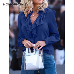 Women Blouse Elegant Fashion Ruffles Blouse Shirt Solid V Neck Vintage Women Tops Long Sleeve Spring And Summer Office Lady