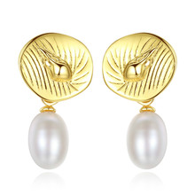 YUEYIN 925 Sterling Silver Earrings18K Gold Plated Nature Pearl Fine Jewelry Korean Earrings High Quality Fashion Style 2019