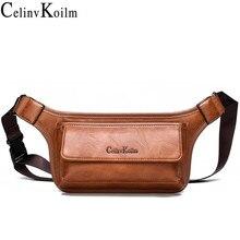 Celinv koilm saco da cintura dos homens pacote casual funcional telefone cinto masculino unisex crossbody sling saco para cinto de couro peito bolsa