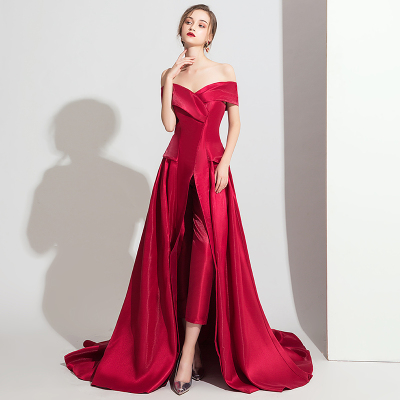 2020 Hot Sale High Low Jumpsuits Evening Gowns Plus Size Formal Evening Wear Off the Shoulder Satin Peplum Party Dresses