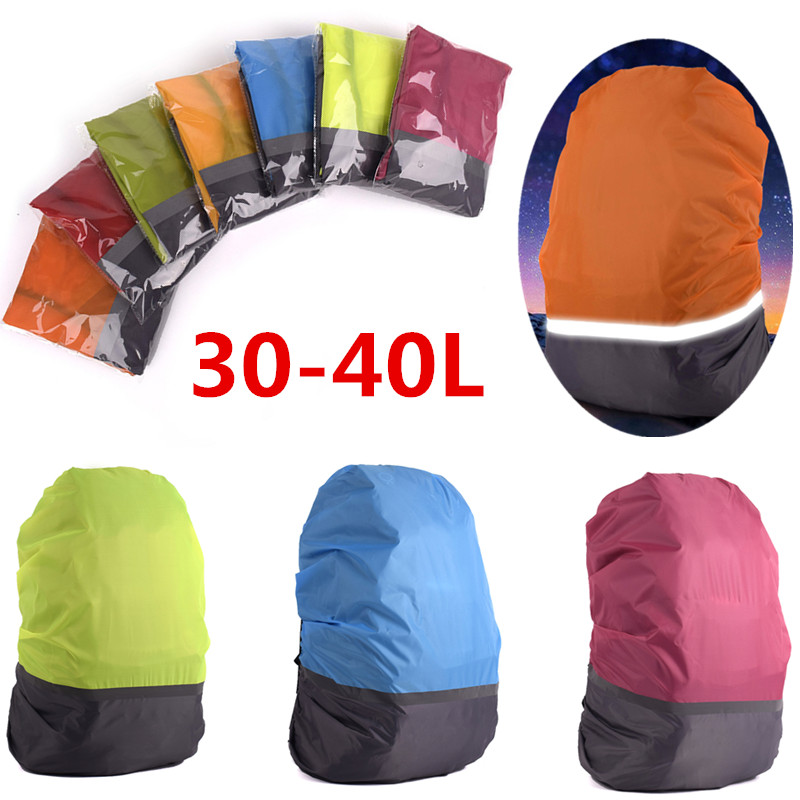 1PCS 30-40L Reflective Rain Cover Waterproof Backpack Bag Cover Outdoor Camping Travel Rainproof Dustproof Covers For Backpacks