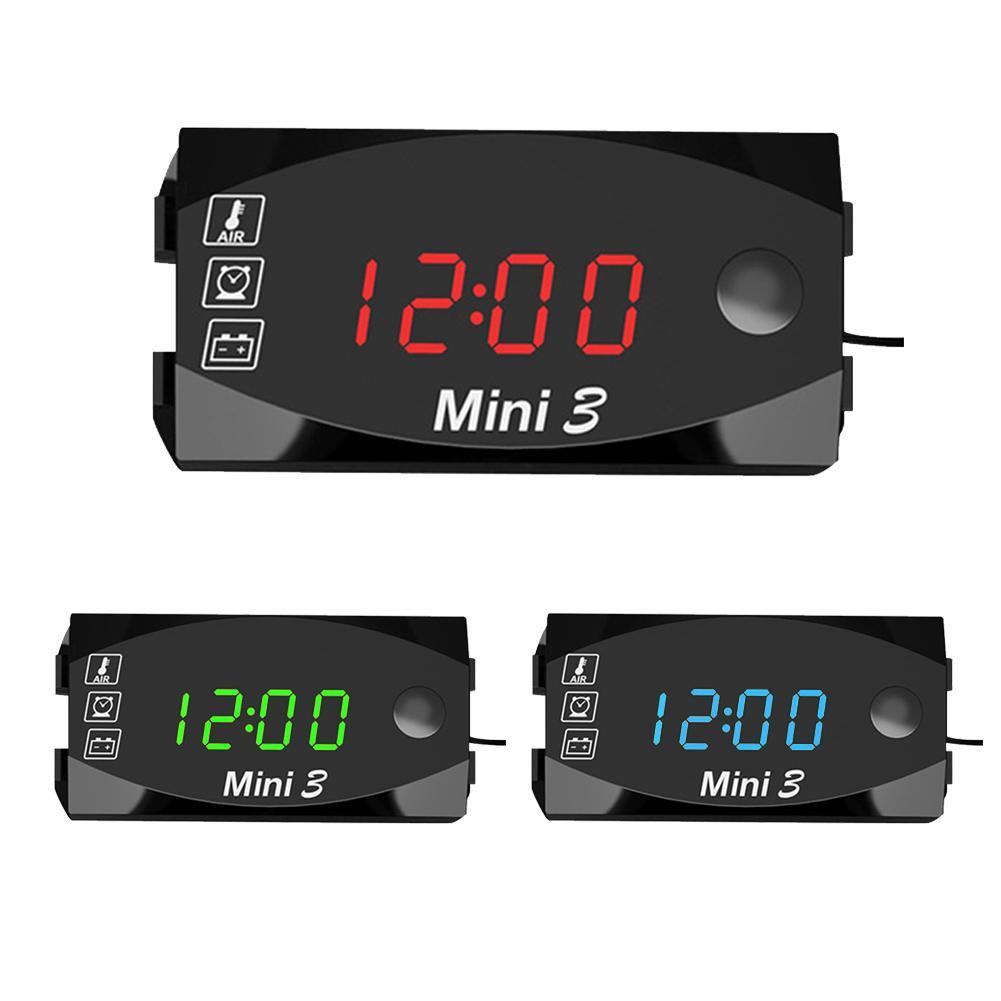 Universal Motorcycle Electronic Clock Thermometer Voltmeter Three-In-One IP67 Waterproof Dust-proof LED Watch Digital Display