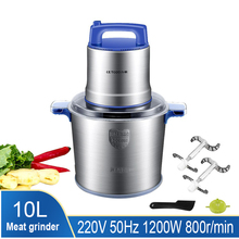 10L Kitchen Meat Cutter Chopper Chopper Food Chopper Stainless Steel Electric Processor for Home Kitchen Cooking Tools