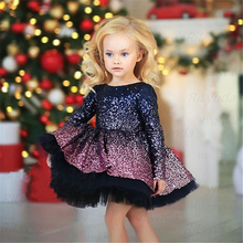 Celebrity Dresses Birthday-Dress Glitter Flower-Girls Christmas-Party Shiny Sequin-Bow