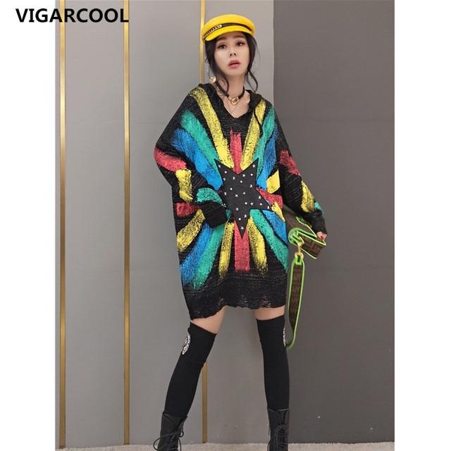 Tide brand women 2021 spring new fashion sweater women's Korean style hooded sweater star sweater mid-length fashion streetwear 1