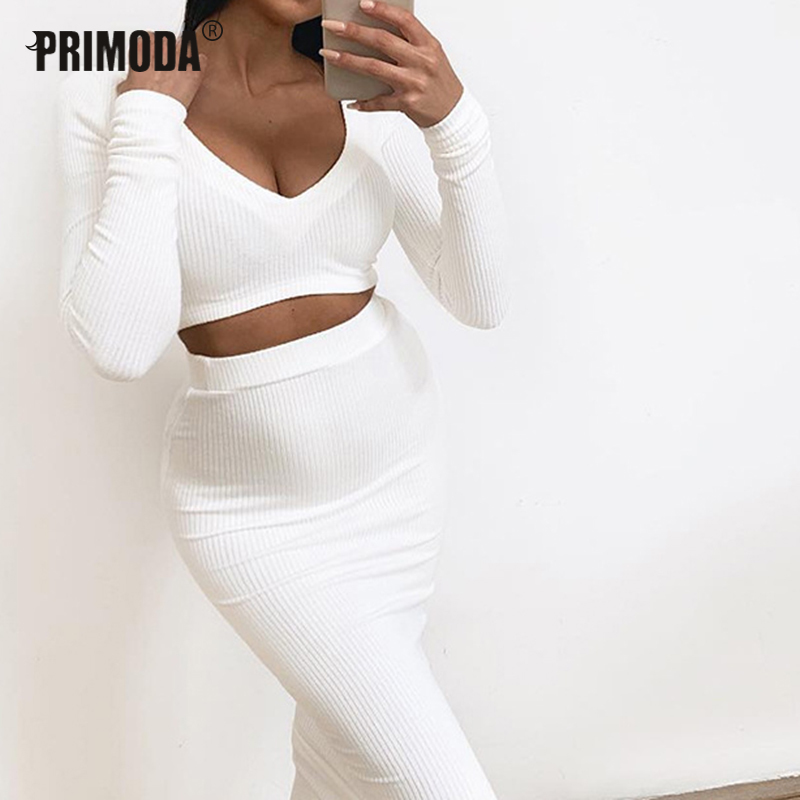 2020 Autumn Women Sets Bodycon Ribbed V-Neck 2 Pieces Sets Solid Crop Tops And Midi Slirt Knitted Sexy Sets Elegant Party PR839G