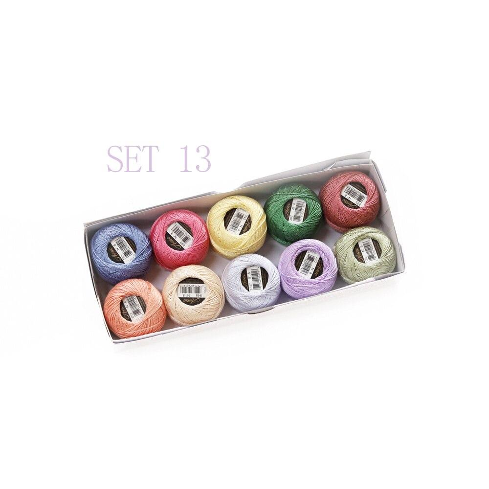 5 граммов размер, 8 жемчужных хлопковых нитей для вышивки крестиком, 43 ярдов на шарик, Двойной Мерсеризованный длинный штапельный хлопок, 10 шт./col - Цвет: SET 13