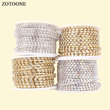 ZOTOONE Silver Motif Rhinestones for Clothes Strass Gold Claw Chain Rhinestone Trim Glue Nails Stickers DIY Sewing Accessories E