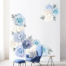 Blue Peony Wall Stickers for Bedroom Living room Background Removable Vinyl Wall Decals Eco-friendly Wall Murals Home Decoration blue peony wall stickers bedroom living room tv background diy vinyl plants wall decals eco friendly removable diy wall murals