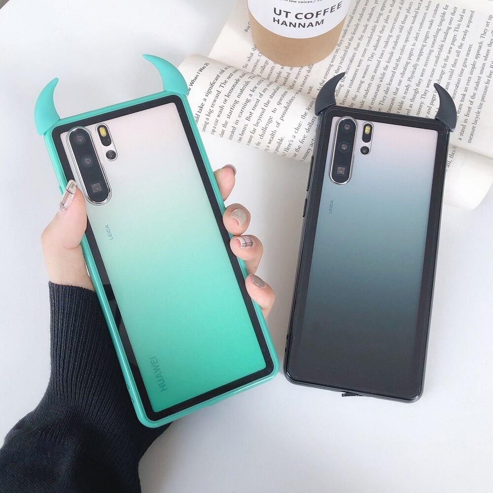 Devil Horn Gradient Phone Case For Huawei P40 P30 Lite Pro Honor 20 Nova 6 Soft Acrylic Lridescent Phone Back Cover