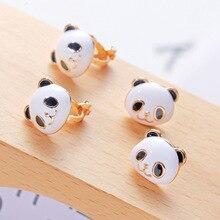 1Pair Lovely Panda Design Stud Earring Cute Cartoon Images Earrings Crystal Ear