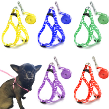 Pet Dog Bone Printing Harness and Leash Set Summer Chihuahua Fashion Harness for Small Dog Adjustable Walking Puppy Accessories
