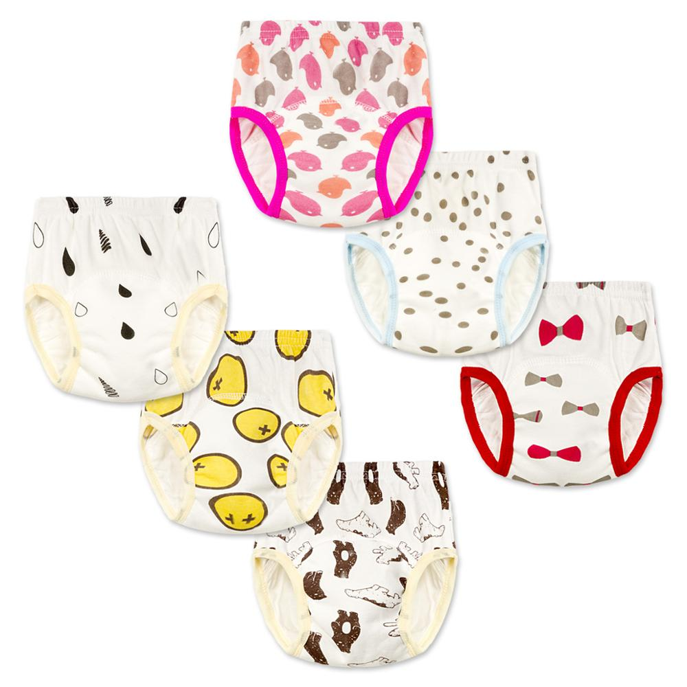5Layer Kids Reusable Training Pants Infant Cotton Underwear Nappies Baby Diaper Child Waterproof Panties Nappy NP009