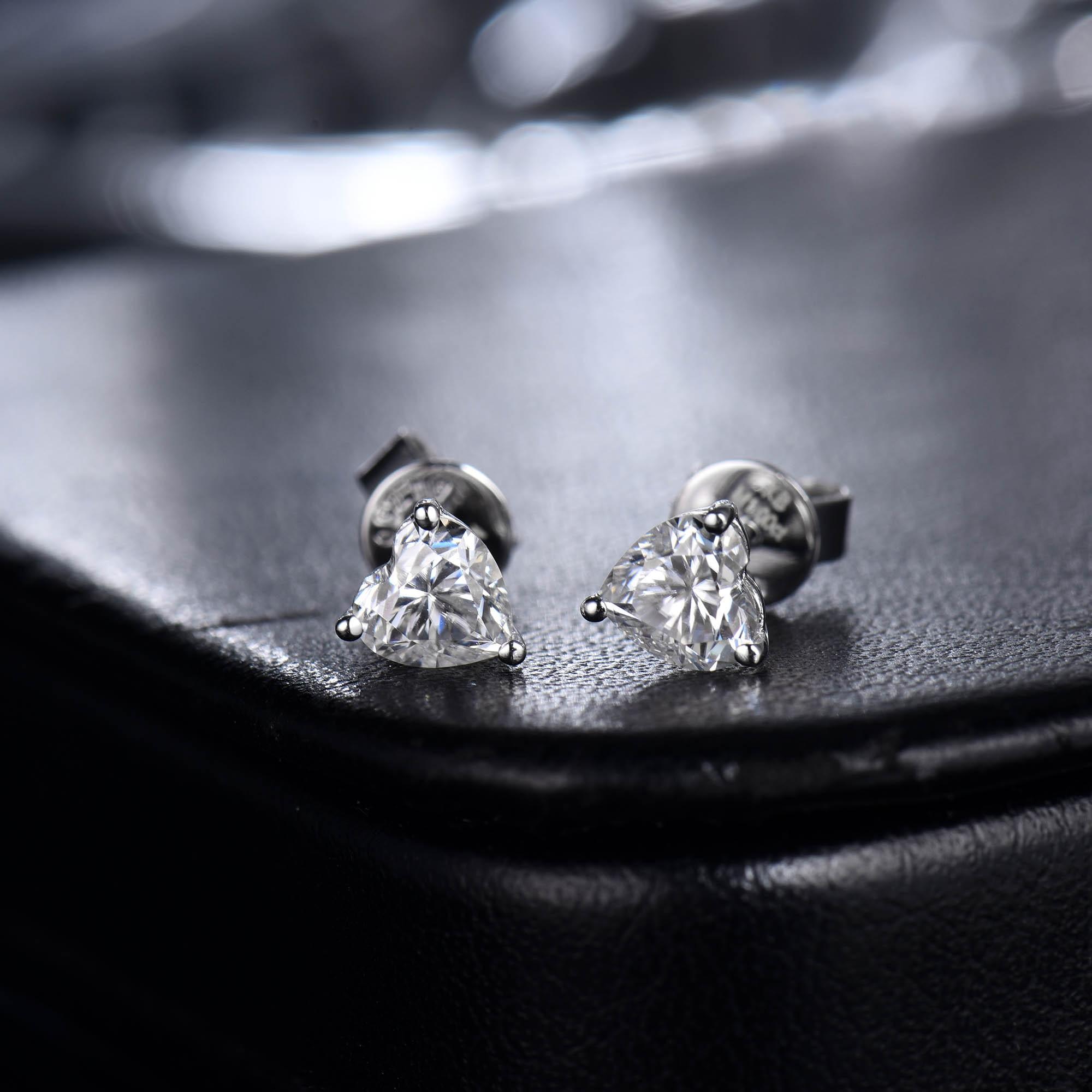 Femmes Moissanite boucles d'oreilles goujon solide 14K or blanc 1ct 2ct coeur brillant Moissanite pour Layd fiançailles OL Style bijoux de mode - 2