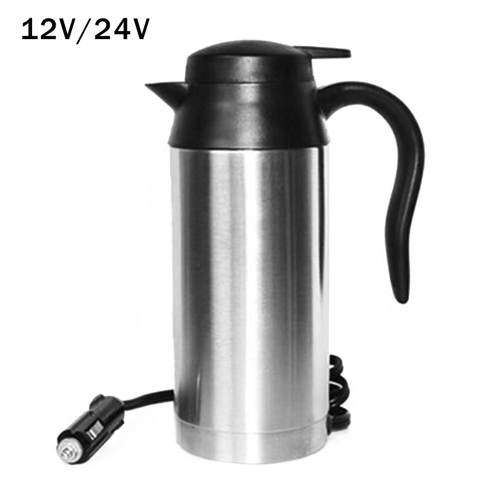 750ML 120W Truck Car Electric Heating Cup 12V/24V Travel Heating Cup Coffee Tea Boiling Mug Kettle Auto Accessories Car Kettle