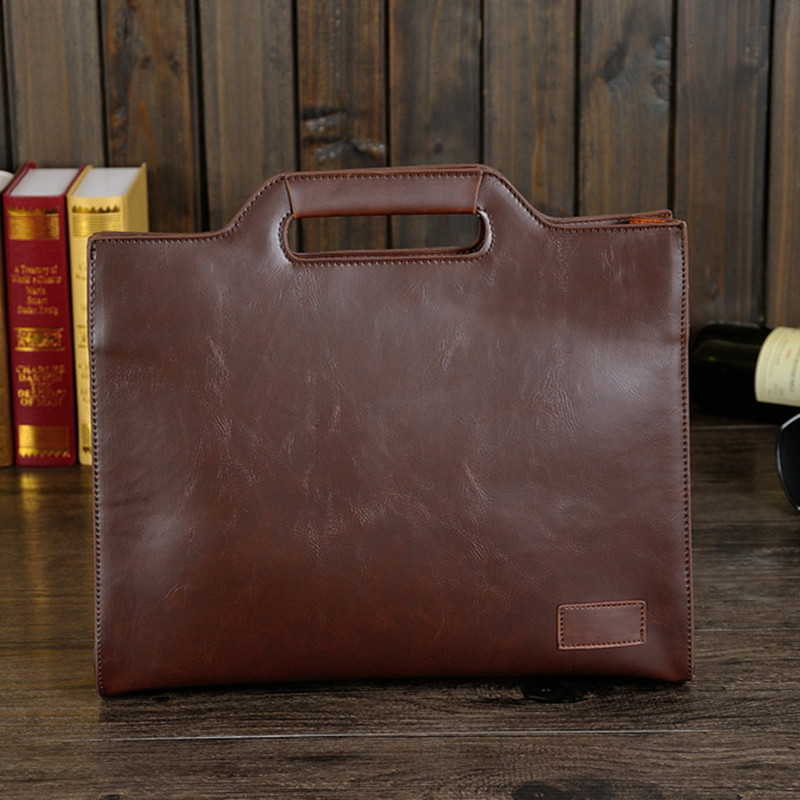 Men's Business Office Briefcase Brand PU Leather Handbag Male Vintage Tote Computer Laptop Bag Casual Shoulder File Bags Retro