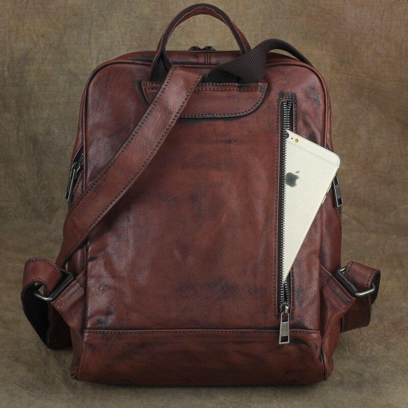 Nesitu คุณภาพสูงแบบสบายๆ Vintage สีแดงสีน้ำตาลผักหนังแท้ผู้หญิงกระเป๋าเป้สะพายหลังหญิงสาวกระเป๋าเดินทาง M002-ใน กระเป๋าเป้ จาก สัมภาระและกระเป๋า บน   3