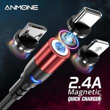 Kabel magnetyczny ANMONE Micro USB kabel USB typu c szybki przewód ładujący do Samsung Huawei Xiaomi Redmi Android USB C przewód ładowarki tanie tanio TYPE-C 2 4A NYLON USB A Magnetyczne 3 w 1 Podświetlany Złącze ze stopu For iPhone 11 XS MAX XR X 8 7 6 6S Plus 5 5S S