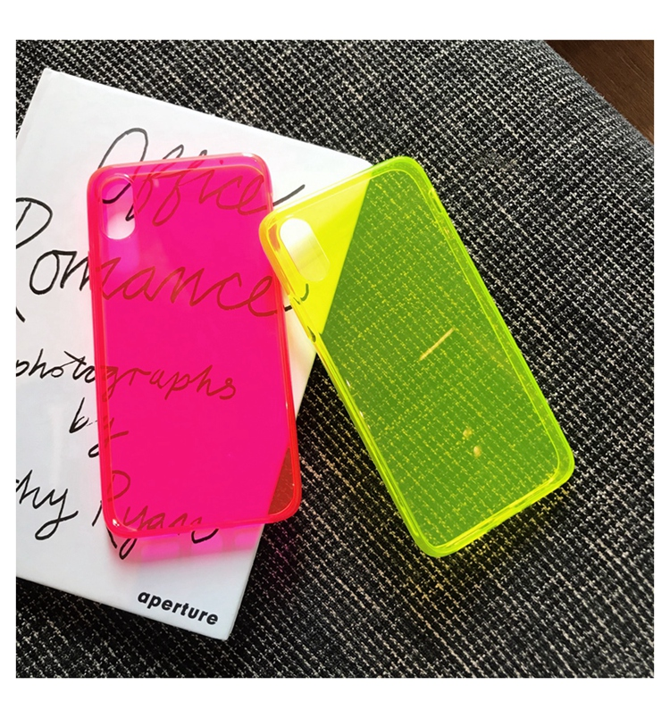 Fashion Fluorescent Yellow Phone Case For Samsung A50 A51 A70 A71 S9 S10 Plus S20 Note 10 Plus Cute Solid Color Soft Back Cover