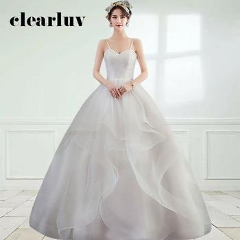 Long Elegant Wedding Dresses DR690 Spaghetti Strap Vestido De Novia 2020 Strapless Formal Wedding Dress Tiered Pleat Bridal Gown