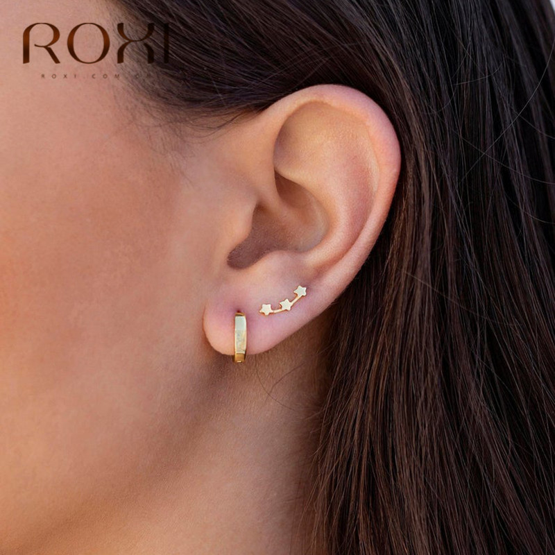 ROXI 925 Sterling Silver Three Stars Stud Earrings Simple Fashion Jewelry For Women Boucle D'oreille Elegant Tiny Star Earrings